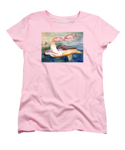Women's T-Shirt (Standard Cut) featuring the painting Determined - Loggerhead Sea Turtle by Roxanne Tobaison