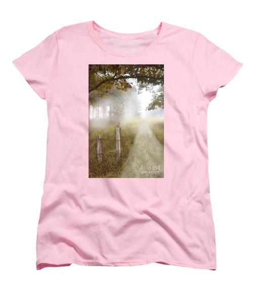 Dirt Road In Fog Women's T-Shirt (Standard Cut) by Jill Battaglia
