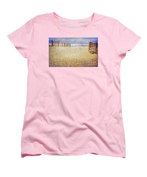 Women's T-Shirt (Standard Cut) featuring the photograph Down The Shore by Debra Fedchin