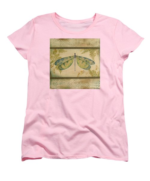 Dragonfly Among The Ferns-1 Women's T-Shirt (Standard Cut) by Jean Plout