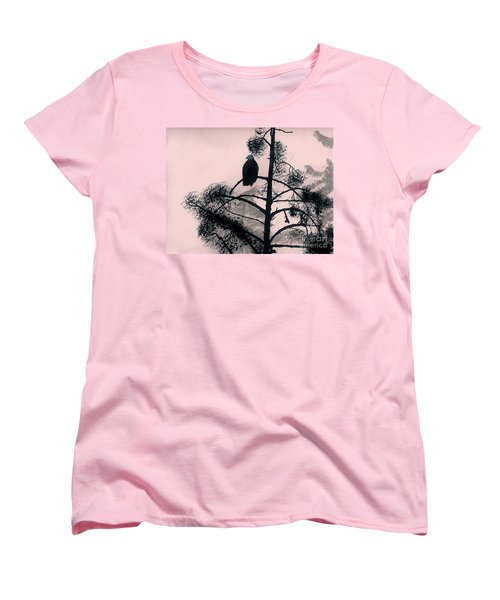Women's T-Shirt (Standard Cut) featuring the drawing Eagle In Pink Sky by D Hackett