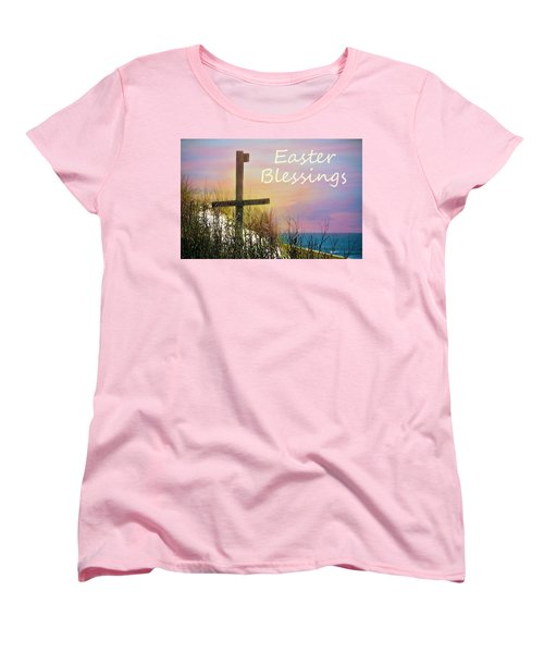 Easter Blessings Cross Women's T-Shirt (Standard Cut) by Sandi OReilly