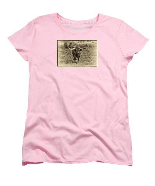 Eat Leaf Not Beef Sepia Women's T-Shirt (Standard Cut) by Priscilla Burgers