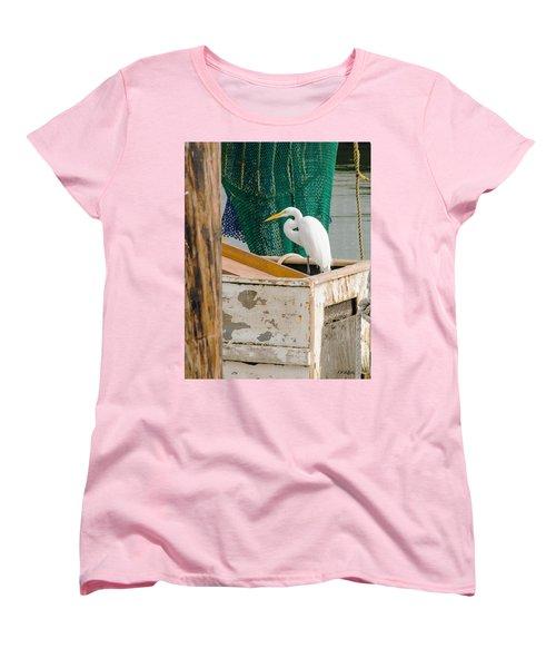 Egret With Fishing Net Women's T-Shirt (Standard Cut) by Allen Sheffield