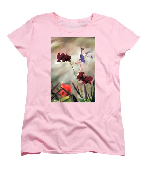 Fairy In The Orchid Garden Women's T-Shirt (Standard Cut) by Rosalie Scanlon