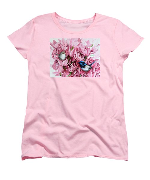 Fairy Wrens And Orchids Women's T-Shirt (Standard Cut) by Debbie Hart