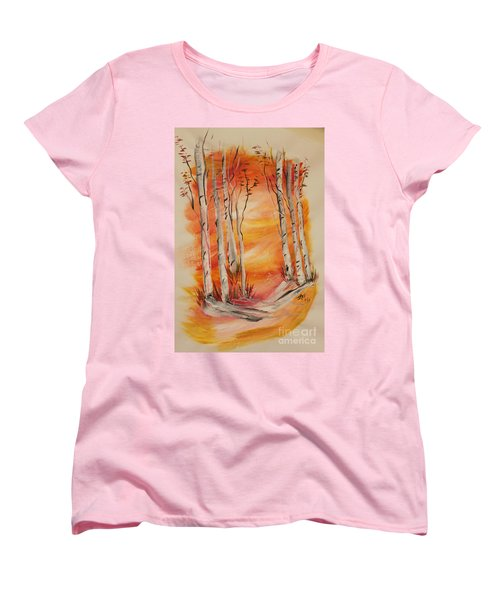 Women's T-Shirt (Standard Cut) featuring the painting Fall Aspen On Paper by Janice Rae Pariza