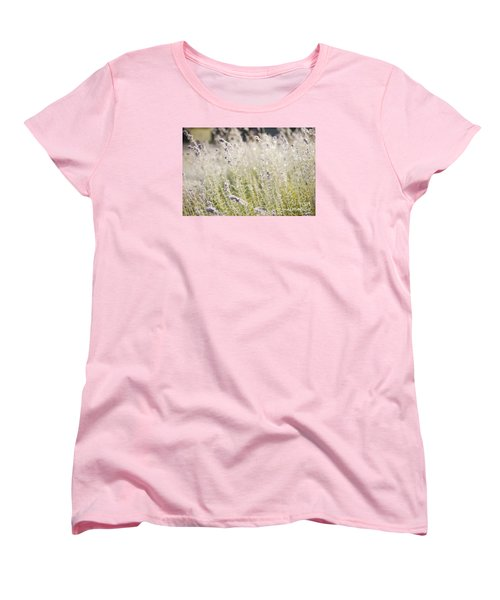 Field Of Lavender At Clos Lachance Vineyard In Morgan Hill Ca Women's T-Shirt (Standard Cut) by Artist and Photographer Laura Wrede