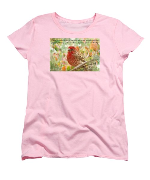 Finch With Verse New Version Women's T-Shirt (Standard Cut) by Debbie Portwood