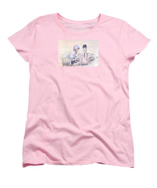 First Snowman Women's T-Shirt (Standard Cut) by Genevieve Brown