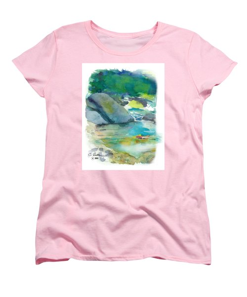 Women's T-Shirt (Standard Cut) featuring the painting Fishin' Hole by C Sitton