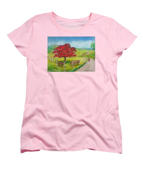 Flamboyan And Cows In Western Puerto Rico Women's T-Shirt (Standard Cut) by Frank Hunter