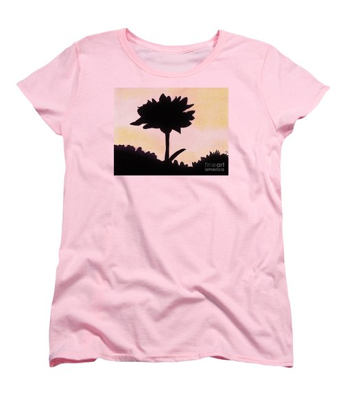 Women's T-Shirt (Standard Cut) featuring the drawing Flower - Sunrise by D Hackett