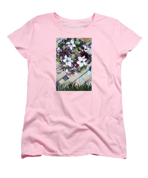 Floral Wreath Women's T-Shirt (Standard Cut) by Mary Ellen Frazee