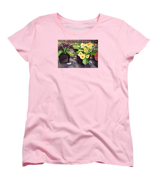 Flowers And Eagle Feathers Women's T-Shirt (Standard Cut) by Lynda Hoffman-Snodgrass