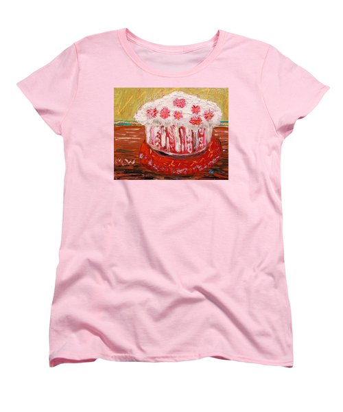 Women's T-Shirt (Standard Cut) featuring the painting Flowers In The Frosting by Mary Carol Williams