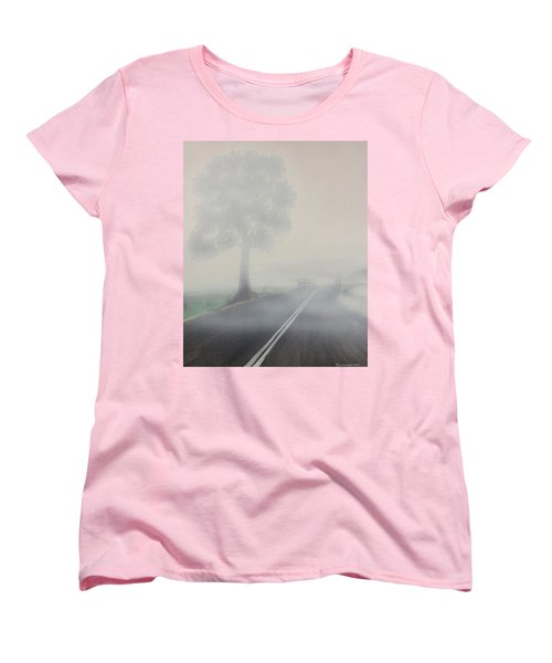 Women's T-Shirt (Standard Cut) featuring the painting Foggy Road by Tim Mullaney