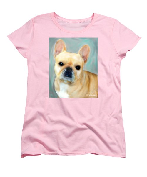 Women's T-Shirt (Standard Cut) featuring the painting French Bulldog Mystique D'or by Barbara Chichester