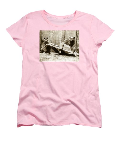 Women's T-Shirt (Standard Cut) featuring the photograph Fun With Cats Henry King Nourse Photographer Circa 1900 by California Views Mr Pat Hathaway Archives
