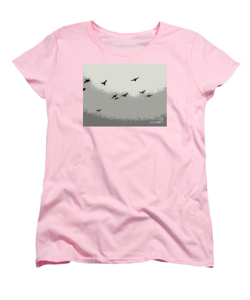 Women's T-Shirt (Standard Cut) featuring the photograph Geese In Sillouehette by Nina Silver