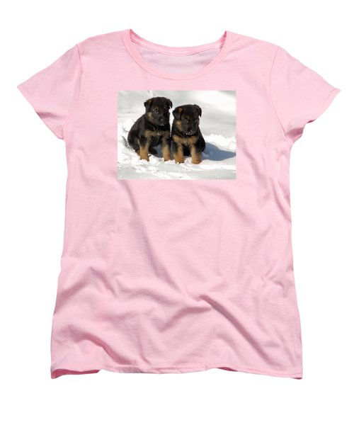 Women's T-Shirt (Standard Cut) featuring the photograph German Shepherd Pups by Aimee L Maher Photography and Art Visit ALMGallerydotcom