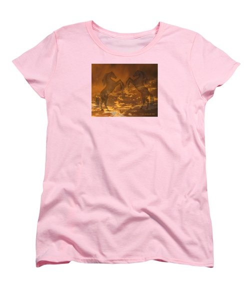 Ghost Horses At Sunset Women's T-Shirt (Standard Cut) by Donald and Judi Hall