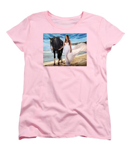 Women's T-Shirt (Standard Cut) featuring the painting Girl And Horse On Beach by Tim Gilliland