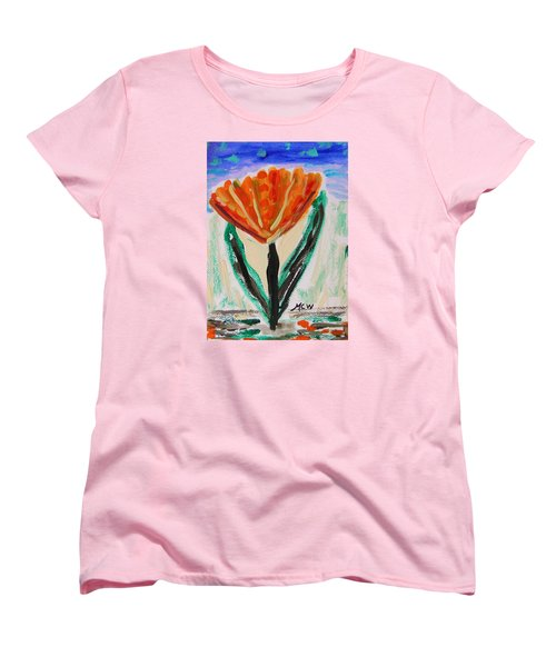 Women's T-Shirt (Standard Cut) featuring the painting Girl-flowers From The Flower Patch by Mary Carol Williams