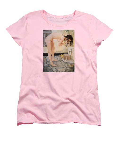 Women's T-Shirt (Standard Cut) featuring the painting Girl With The Golden Towel by Alan Lakin