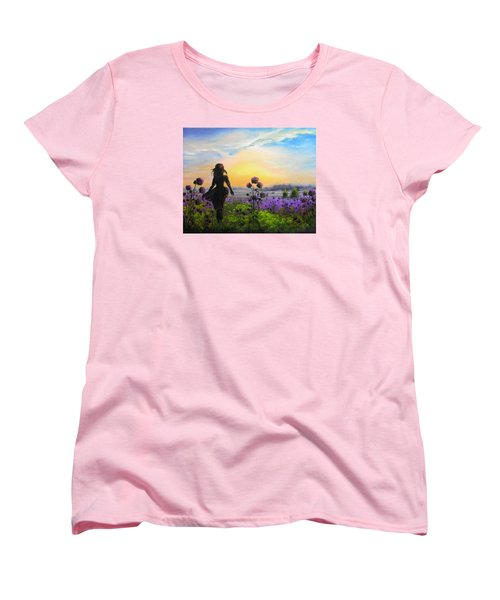 Women's T-Shirt (Standard Cut) featuring the painting Golden Surrender by Vesna Martinjak