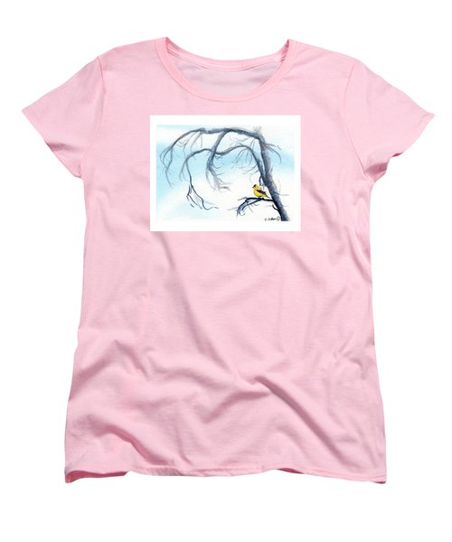 Women's T-Shirt (Standard Cut) featuring the painting Goldfinch In Tree by C Sitton