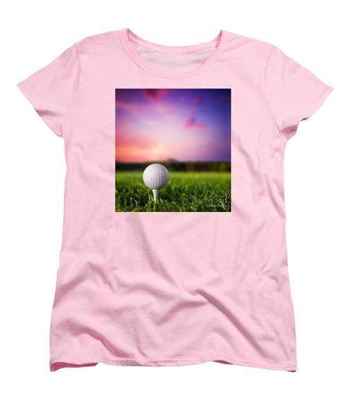 Golf Ball On Tee At Sunset Women's T-Shirt (Standard Cut) by Michal Bednarek