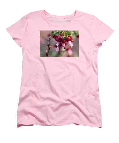 Women's T-Shirt (Standard Cut) featuring the photograph Gooseberry Flowers by Peggy Collins
