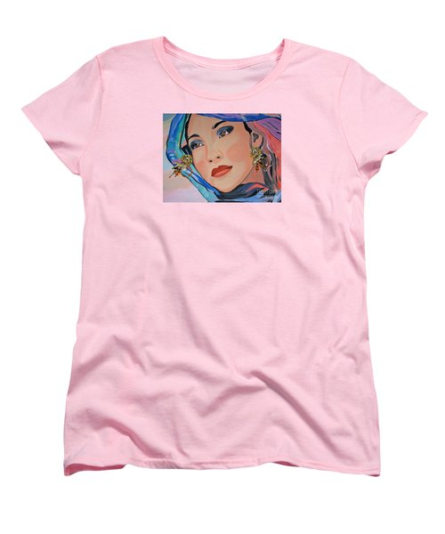 Gorgeous Lady With Beautiful Earrins Women's T-Shirt (Standard Cut) by Phyllis Kaltenbach