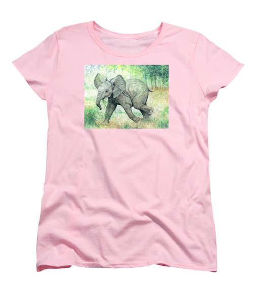 Women's T-Shirt (Standard Cut) featuring the painting Grabbing A Snack by Barbara Jewell