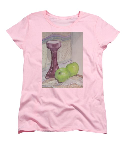 Women's T-Shirt (Standard Cut) featuring the painting Green Apples by Carol Flagg
