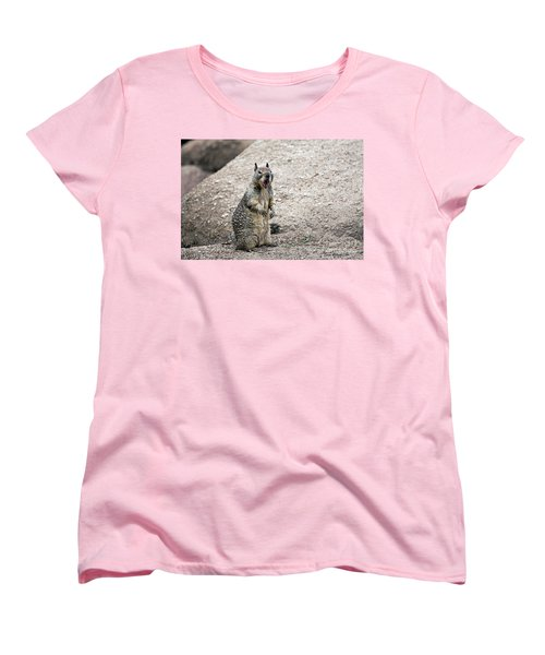 Women's T-Shirt (Standard Cut) featuring the photograph Ground Squirrel Raising A Ruckus by Susan Wiedmann