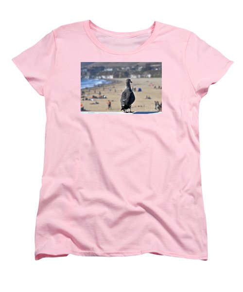 Gull Watching Beach Visitors Women's T-Shirt (Standard Cut) by Susan Wiedmann