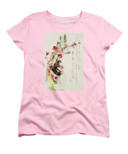 Women's T-Shirt (Standard Cut) featuring the painting Haiga My Spring Too Is An Ecstasy by Peter v Quenter