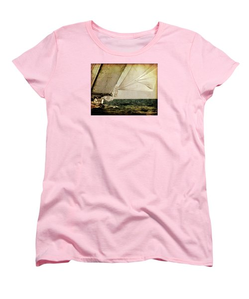 Women's T-Shirt (Standard Cut) featuring the photograph Hanged On Wind In A Mediterranean Vintage Tall Ship Race  by Pedro Cardona