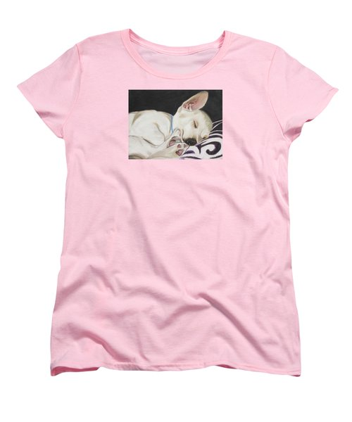 Women's T-Shirt (Standard Cut) featuring the painting Hanks Sleeping by Jeanne Fischer