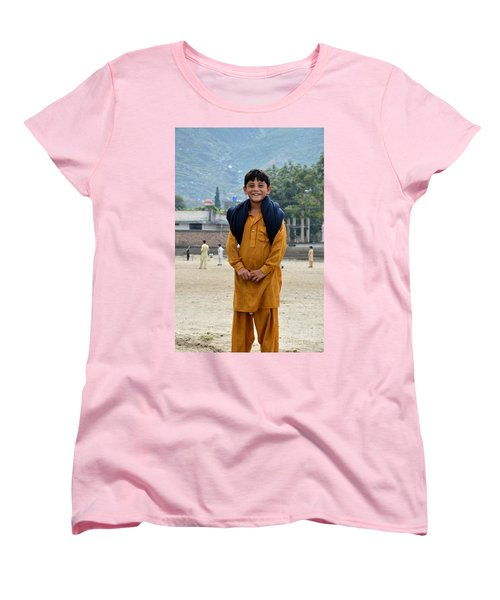 Women's T-Shirt (Standard Cut) featuring the photograph Happy Laughing Pathan Boy In Swat Valley Pakistan by Imran Ahmed