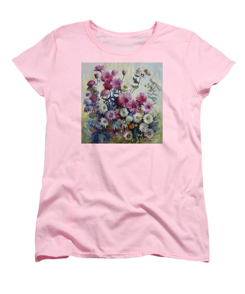 Women's T-Shirt (Standard Cut) featuring the painting Harmonies Of Autumn by Elena Oleniuc