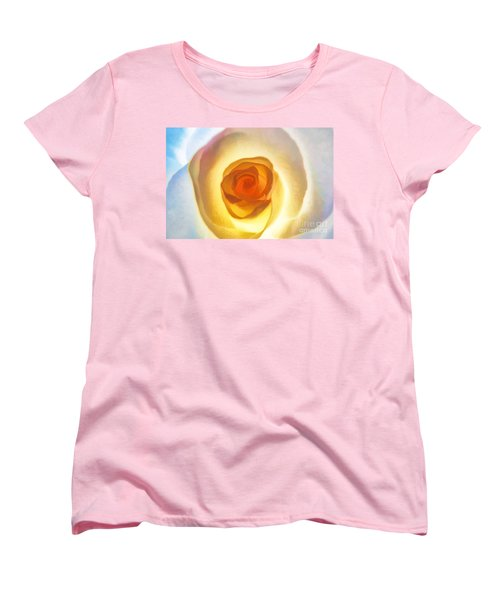 Women's T-Shirt (Standard Cut) featuring the photograph Heart Of The Rose by Peggy Hughes