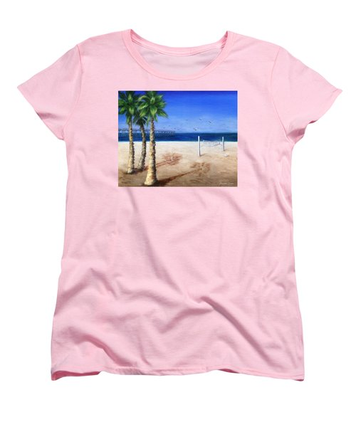 Women's T-Shirt (Standard Cut) featuring the painting Hermosa Beach Pier by Jamie Frier