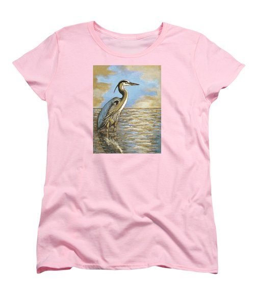 Women's T-Shirt (Standard Cut) featuring the painting Heron At Bay by VLee Watson
