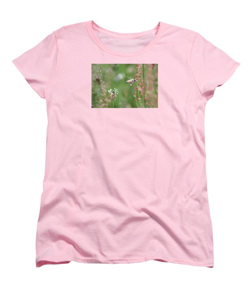 Honeybee Flying In A Meadow Women's T-Shirt (Standard Cut) by Lucinda VanVleck