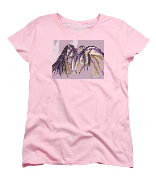 Women's T-Shirt (Standard Cut) featuring the painting horses Purple pair by Go Van Kampen