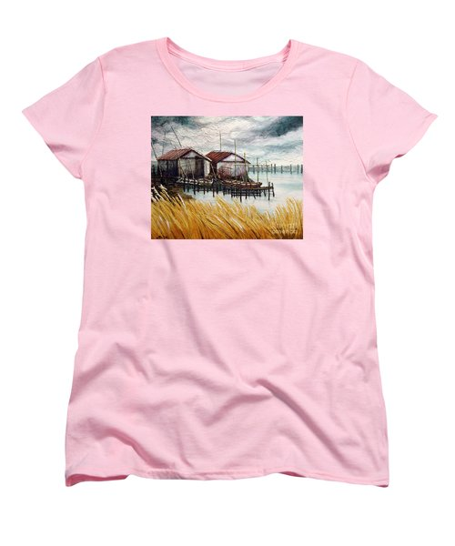 Huts By The Shore Women's T-Shirt (Standard Cut) by Joey Agbayani