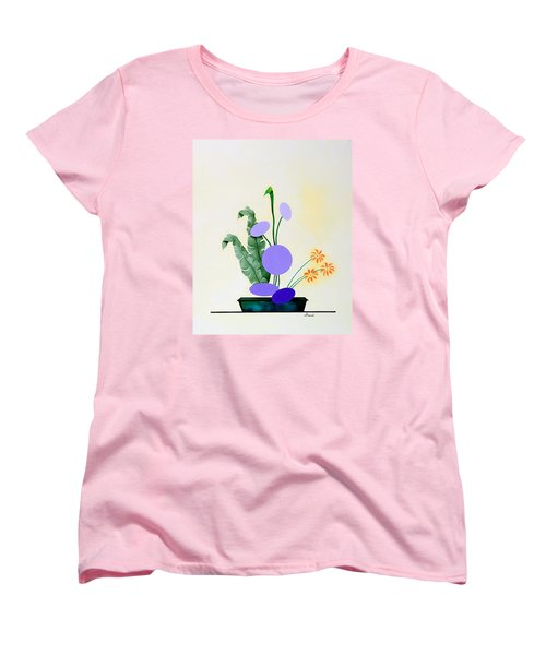 Ikebana #2 Green Pot Women's T-Shirt (Standard Cut) by Thomas Gronowski